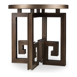 Hooker Furniture - Melange Athenia Accent Table - The ancient Greek key motif is made current and fun in the base of this accent table topped with an antiqued mirror surface.