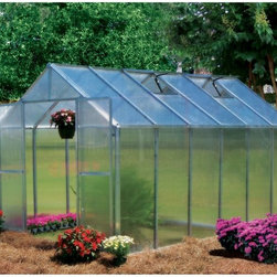 Riverstone Industries - Riverstone Industries Monticello 8 x 12 ft. Greenhouse - MONT-12-BK - Shop for Greenhouses from Hayneedle.com! You may not know that not all greenhouses are built the same but once you see the Riverstone Industries Monticello 8 x 12 ft. Greenhouse you ll understand. To start this greenhouse is proudly made in the USA. Monticello applies good old American ingenuity to make the best product for their customers which helps elevate the industry standards of all greenhouses.This greenhouse is constructed from the highest quality US-grade extruded aluminum not the thinner and more brittle foreign aluminum. It features a protective coating in select color options. The coating is guaranteed to contain 0.0% lead. On average this greenhouse uses over 55 pounds more aluminum than the typical imported greenhouse. Why is this important? A weaker framework suffers more wind damage and can handle less snow before collapsing. While most hobby greenhouses on the market use less expensive thinner walls and roofing materials (the crystal clear walls are as thin as .2mm) the Monticello uses professional-grade 8mm twin wall polycarbonate. This is the same thickness used in the commercial greenhouses. The twin wall polycarbonate acts as a double paned window keeping cooler air in during warm months and insulating the greenhouse from cold air in the wintertime. This makes the Monticello more efficient than other greenhouses. It also adds to the efficiency of growing cutting down electric bills for those who choose to grow year round. The average greenhouse on the market today takes a full weekend to assemble. This is why many greenhouse owners say their top issue in the first two months of ownership is the actual set-up. Through a combination of using superior materials and creating interchangeable parts the Monticello takes the average gardener 6-8 hours to assemble an 8 ft. x 8 ft. greenhouse while using fewer parts. This does not include the base prep work neede