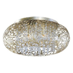 Maxim Lighting - Maxim Lighting 24150BCGS Arabesque 7-Light Flush Mount in Golden Silver - The Arabesque collection's intricate patterns are formed in metal-Light Bath Lighting finished in Golden Silver Strands of crystal beads add sparkle as they shimmer through the Xenon lamps Unique oval-shaped pendants add a touch of class to any room.