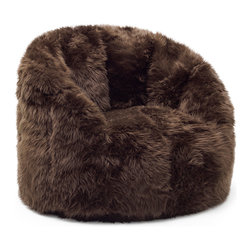 Comfort Research - Big Joe Brown Shag Milano Chair - Some say the streets of Milan are paved with fashion. We_d say those people may need a refresher course in what streets are made of, but that_s neither here nor there. The Milano blends comfortable, stylish and fashionable Shag Fur or Vegan Leather s with just the right amount of back and arm support. You_ll be relaxing faster than you can say, _Ciao bella!_ Made with soft, durable faux leather.  Filled with UltimaX Beans that conform to you.  Double stitched and double zippers for added strength and safety. Spot clean. Please note this item requires an additional shipping timeline of 10-14 days.