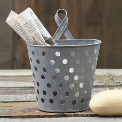 Hanging Metal Bucket Organizer - Simple and stylish, the Hanging Metal Bucket Organizer is great for any office or workspace setting for holding onto mail or storing office supplies in one place while keeping your desk clutter-free. The metal design and polka-dot holes allow for air drying, which also makes this piece great as a planter or for using by the kitchen sink.