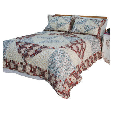 Blancho Bedding - Floral Journey Cotton 2PC Vermicelli-Quilted Patchwork Quilt Set  Twin Size - The [Floral Journey] Quilt Set (Twin Size) includes a quilt and a quilted sham. This pretty quilt set is handmade and some quilting may be slightly curved. The pretty handmade quilt set make a stunning and warm gift for you and a loved one! For convenience, all bedding components are machine washable on cold in the gentle cycle and can be dried on low heat and will last for years. Intricate vermicelli quilting provides a rich surface texture. This vermicelli-quilted quilt set will refresh your bedroom decor instantly, create a cozy and inviting atmosphere and is sure to transform the look of your bedroom or guest room. (Dimensions: Twin quilt: 65.7 inches x 85.8 inches Standard sham: 24 inches x 33.8 inches)