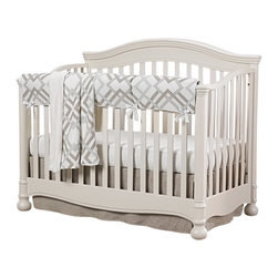 Liz and Roo - Easton Gray and Taupe Crib with Linens Bumperless 4 Piece Bedding - 4-pc Baby Bedding set including easto rail cover and minky receiving blanket, flax linen crib skirt and Egyptian cotton crib sheet.