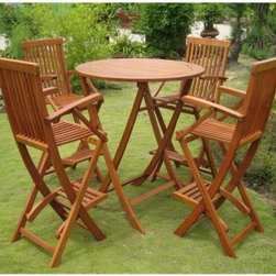 Seville Bar Height Folding Outdoor Patio Dining Set - Enliven your patio with the Seville Bar Height Folding Outdoor Patio Dining Set. This charming alfresco dining set is constructed from durable yellow Balau hardwood that is finished with an all-weather protective dual finish. The tall folding table features a classic slatted design that comfortably seats four. Each of the four folding bar height chairs is crafted for relaxing use. You could lose track of a summer day cloud-gazing in the wide armrests, deep seats and footrests.About International Caravan, Inc.For nearly half a century, International Caravan, Inc. has been scouring the world for unique furniture and home decor products to bring to the international market. Today, International Caravan, Inc. is ranked as one of the leading import and wholesale distributors in the nation. Their products can be found on the largest E-commerce websites as well as in America's leading retail stores.