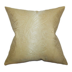 The Pillow Collection - Cashel Paisley Pillow Gold - Striking and pretty, this throw pillow will brighten up your living space. This accent pillow boasts a bold paisley pattern in a beautiful gold palette. Place this toss pillow anywhere inside your home where it needs styling and comfort. Made with a blend of high-quality materials: 65% cotton and 35% polyester material.