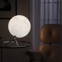 Globe: Modern World Globe with Light - Globe: Modern World Globe with Light from Stardust.  The traditional globe steps out of the classroom and into minimalist style with the Nodo Illuminated Globe. Embodying form, function and clean lines, this table top globe features an internal lighting system that provides a soft glow.