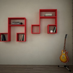 LaSiDo Bookcase - Wall Shelf Red - Decortie
