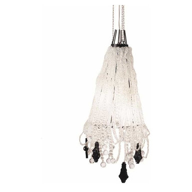 CR44 Chandelier by Lightology Collection - CR44 3 light chandelier features a nickel or lead finish. Nickel finish features clear crystals. Lead finish features black methacrylate and clear crystals.