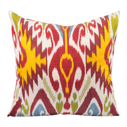 "Uzbekistan Passion - 20"" Ikat Pillow Cover - P-A531 - A bold colored Uzbek Ikat pillow cover to spark your passion with a color scheme of red tones, yellow, green and blue hand woven into the white background of this Ikat fabric from Uzbekistan."