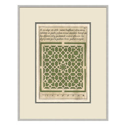 Soicher-Marin - Garden Plan D, Green - Giclee print with a silver  contemporary wood frame with off white mat insert.  Includes glass, eyes and wire.  Made in the USA. Wipe down with damp cloth