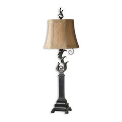 The Uttermost Company - Caperana Black Buffet Lamp - Matte black finish with a heavy verdigris wash over the leaf details and bronze undertones.  The rectangle, slipped corners, bell shade is a silken chocolate bronze  textile with black slubbing and multiple layers of trim.