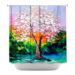DiaNoche Designs - Shower Curtain Artistic Story of the Tree L - DiaNoche Designs works with artists from around the world to bring unique, artistic products to decorate all aspects of your home.  Our designer Shower Curtains will be the talk of every guest to visit your bathroom!  Our Shower Curtains have Sewn reinforced holes for curtain rings, Shower Curtain Rings Not Included.  Dye Sublimation printing adheres the ink to the material for long life and durability. Machine Wash upon arrival for maximum softness. Made in USA.  Shower Curtain Rings Not Included.