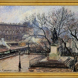"""Camille Pissarro-16""""x20"""" Framed Canvas - 16"""" x 20"""" Camille Pissarro The Raised Tarrace of the Pont-Neuf and Statue of Henri IV framed premium canvas print reproduced to meet museum quality standards. Our museum quality canvas prints are produced using high-precision print technology for a more accurate reproduction printed on high quality canvas with fade-resistant, archival inks. Our progressive business model allows us to offer works of art to you at the best wholesale pricing, significantly less than art gallery prices, affordable to all. This artwork is hand stretched onto wooden stretcher bars, then mounted into our 3"""" wide gold finish frame with black panel by one of our expert framers. Our framed canvas print comes with hardware, ready to hang on your wall.  We present a comprehensive collection of exceptional canvas art reproductions by Camille Pissarro."""