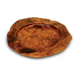Enrico - Enrico Root Wood Serving Tray Charger, Set of 2 - Each of our hand carved root platters is uniquely beautiful and stands alone as a natural work of art. These fantastic pieces are carved from a species of Chinese Fir called Shan Mu, which grows abundantly in the mountains of central China. The stumps left by logging are reclaimed prior to replanting and hand-carved by local artisans into the shapes in this collection. They are beautiful and practical items that bring their own unique organic charm into the home. Each piece is a one-of-a-kind. Set of 2. Food-safe lacquer finish. Hand wash. Knotholes and minor cracks add a unique charm.
