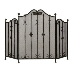 IMAX Worldwide - IMAX Worldwide Iron Fireplace Screen - Traditional iron fireplace screen with intricate metalwork detail. Tri-fold.