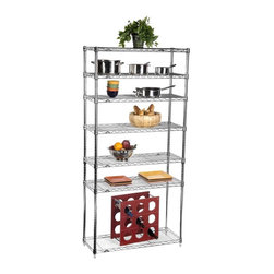 InterMetro - Cilantro Pantry Hi-Rise Bakers Rack - PNTRYHIB - Shop for Pantries from Hayneedle.com! This is truly the ultimate storage for your pantry kitchen or any other room. Simple and efficient this rack can be used for display or placed in a closet or pantry for extra shelves where you need them most. Made of metal and available in your choice of finishes the Cilantro Pantry Hi-Rise Unit features 7 total metal shelves for tons of surface space. The shelves are adjustable in one inch increments so you can truly tailor this unit to fit your needs. Complete assembly of this product is required.