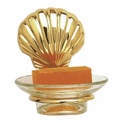 Renovators Supply - Soap Dishes Bright Solid Brass Sea Crest Soap Dish 5'' Proj - Soap Dish. Part of our Sea Crest bath collection. This soap dish has a solid brass shell that is polished and lacquered. To insert glass dish remove the sea shell backplate by gently pulling. Simply press sea shell back in place once the glass insert is secured. Glass 4 1/4 in. dia. insert included. Measures overall 4 3/4 in. H x 5 in. proj.