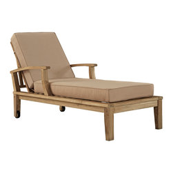 Marina Outdoor Patio Teak Single Chaise - Harbor your greatest expectations with this luxurious solid teak wood outdoor set. Marina has a seating arrangement perfect for every member of your crew as you breathe the fresh crisp air of a day spent with friends and family. Known for its natural ability to withstand extreme weather conditions, teak is the wood selection of choice for long-lasting outdoor furnishings. Now you can enjoy Marinas durable construction and all-weather cushions, alongside a modern design that persistently looks new and welcoming. Zoom in on the product image before you, and see the exquisite texture and detail for yourself.
