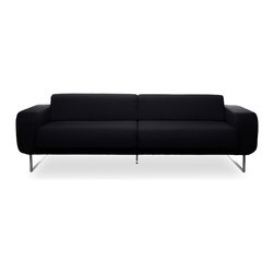 furnitive - Camden Black 3-Seat Sofa - Camden Sofas are a whirl of soft lines, contrasting forms, and striking symmetries. The exaggerated curves, stainless steel legs, and attention to comfort confirm its design pedigree. It may be retro in style, but the Camden ranges are constructed according to the highest modern standards for comfort and durability.