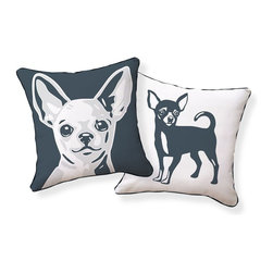 Naked Decor - Chihuahua Pillow - Make a statement on your sofa with an adorable chihuahua accent pillow. One side features a close-up while the opposite side shows the pup's full body. Gift this to the dog lover in your life or keep it for your dog-adoring self.