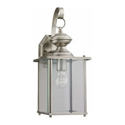 Sea Gull Lighting - 1-Light Wall Lantern Antique Brushed Nickel - 8458-965 Sea Gull Lighting Jamestowne 1-Light Outdoor Wall Lantern with a Antique Brushed Nickel Finish