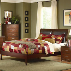 Woodbridge Home Designs - Rivera Panel Bed - Features: -Satin nickel hardware brings this offering as the best soft contemporary.-Both veneered bed and upholstered bed with dark brown vinyl insert are available.-Rivera Collection.-Powder Coated Finish: No.-Gloss Finish: No.-Finish: Warm brown cherry.-Frame Material: Wood; Manufactured wood -Frame Material Details: Poplar and MDF..-Solid Wood Construction: No.-Upholstered: Yes.-Number of Items Included: 3.-Non Toxic: Yes.-Scratch Resistant: No.-Joinery Type: Groove.-Mattress Included: No.-Recommended Mattress Height: 8.-Headboard Storage: No.-Footboard Storage: No.-Underbed Storage: No.-Slats Required: Yes -Number of Slats Required: 3.-Slats Included: Yes..-Center Support Legs: Yes.-Adjustable Headboard Height: Yes.-Adjustable Footboard Height: No.-Wingback: No.-Trundle Bed Included: No.-Attached Nightstand: No.-Cable Management: No.-Built in Outlets: No.-Lighted Headboard: No.-Finished Back: No.-Reclaimed Wood: No.-Number of Center Support Legs: 2.-Distressed: No.-Bed Rails Included: Yes.-Collection: Rivera.-Eco-Friendly: Yes.-Recycled Content: Yes -Total Recycled Content (Percentage): 90%.-Post-Consumer Content (Percentage): 30%.-Remanufactured/Refurbished : No..-Wood Moldings: No.-Canopy Frame: No.-Hidden Storage: No.-Jewelry Compartment: No.-Weight Capacity: 550.-Swatch Available: No.-Commercial Use: No.Specifications: -FSC Certified: No.-EPP Compliant: Yes.-CPSIA or CPSC Compliant: No.-CARB Compliant: Yes.-JPMA Certified: No.-ASTM Certified: No.-ISTA 3A Certified: No.-PEFC Certified: No.-General Conformity Certificate: No.-Green Guard Certified: No.Dimensions: -Overall Height - Top to Bottom (Size: California King): 48.-Overall Height - Top to Bottom (Size: Full): 48.-Overall Height - Top to Bottom (Size: King): 48.-Overall Height - Top to Bottom (Size: Queen): 48.-Overall Width - Side to Side (Size: California King): 76.-Overall Width - Side to Side (Size: Full): 58.-Overall Width - Side to Side (Size: King): 80.-Overall Width - Side to Side (Size: Queen): 64.-Overall Depth - Front to Back (Size: King): 84.-Overall Depth - Front to Back (Size: Queen): 84.-Overall Product Weight (Size: California King): 77.03.-Overall Product Weight (Size: Full): 61.1.-Overall Product Weight (Size: King): 81.24.-Overall Product Weight (Size: Queen): 61.98.-Headboard Dimensions Height (Size: California King): 48.-Headboard Dimensions Height (Size: Full): 48.-Headboard Dimensions Height (Size: King): 48.-Headboard Dimensions Height (Size: Queen): 48.-Headboard Width Side to Side (Size: California King): 76.-Headboard Width Side to Side (Size: Full): 58.-Headboard Width Side to Side (Size: King): 80.-Headboard Width Side to Side (Size: Queen): 64.-Headboard Depth Front to Back (Size: California King): 4.-Headboard Depth Front to Back (Size: Full): 4.-Headboard Depth Front to Back (Size: King): 4.-Headboard Depth Front to Back (Size: Queen): 4.-Footboard Height (Size: California King): 14.-Footboard Height (Size: Full): 14.-Footboard Height (Size: King): 14.-Footboard Height (Size: Queen): 14.-Footboard Width - Side to Side (Size: California King): 76.-Footboard Width - Side to Side (Size: Full): 58.-Footboard Width - Side to Side (Size: King): 80.-Footboard Width - Side to Side (Size: Queen): 64.-Footbo