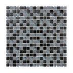 "Glass & Stone Mosaic - Ceramic Tileworks - Bliss Glass & Stone Mosaic Tile - 5/8""x5/8"" Black Timber"