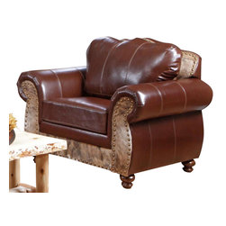 Chelsea Home Furniture - Chelsea Home Saddle Me Up Chair in Leather St. Thomas Brunette - Saddle Me Up chair in Leather St. Thomas Brunette/Medium Brindle Cowhide belongs to Verona II collection by Chelsea Home Furniture