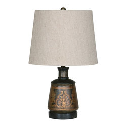 Uttermost - Uttermost Mela Terracotta Table Lamp - A hand-painted terracotta lamp base with an intricate and detailed pattern, from the Uttermost collection of lamps. Beautiful hand painted details in black and gold enhance the table lamp's terracotta base. The design is heavily antiqued for an old-fashioned and mystifying feel. Topped with a round tapered hardback shade in a taupe beige linen fabric.