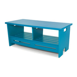 Go Coffee Table, Sky.Blue - I would love to use this coffee table as a bench in the mudroom. I'd put baskets in the open storage under the top.