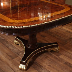 Robust American Empire or Regency Style Dining Table (HASBT) - This double pedestal Duncan Phyfe table has a darker finish with less contrast than most of our newer finishes.