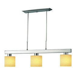 Z-Lite - Z-Lite 3 Light Billiard - Straight line and rectangular detailing defines the bold and contemporary look of this three light fixture. Golden linen shades provide a splash of elegance, and telescoping rods ensure a perfect hanging height. This fixture would be the perfect addition to a kitchen, a game room, or anywhere else in the home.