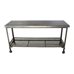 Kathy Kuo Home - Urban Mercantile Galvanized Steel Industrial Console Table - This galvanized steel mercantile table, with its low-strung iron mesh basket, will fit right into your urban loft. No need to worry about tossing your keys and heavy bags down on the durable silver top of this utilitarian beauty - it can take it. The iron base comes on caster wheels so you can relocate it easily, putting it to use in any room of your home.