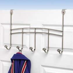 Duchess Over the Door 5 Hook Coat Rack - The Duchess Over the Door 5 Hook Coat Rack will be a most stately accent for your home. This piece features five coat hooks for all of the year's outerwear plus hats for the summer umbrellas or whatever else you can think of. The over-the-door hook design ensures the stability of this coat rack and you can relocate it at any time without the use of nails or screws. Constructed from metal and available in chrome and satin nickel finishes this piece will remain strong and beautiful through the seasons. No assembly required. This piece measures 19.5W x 3.875D x 12.5H inches. About Spectrum Diversified DesignsSpectrum Diversified Designs based out of Cleveland Ohio operates out of a 130 000 square foot distribution center and provides services to nearly every continent on the globe. With a specialized team of experts in art design and logistics Spectrum consistently provides top-quality products that are functional attractive and cost-effective. Spectrum is dedicated to providing you with only the best in home accessories. From the kitchen to the bath and all in between you'll find exactly what you need for all of your home needs. The possibilities are endless.