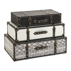 "Imax - Vintage Chic Aberdeen Storage Trunks - Set Of 3 - *Dimensions: 23-25-28"" h x 11.5-13.5-15.75""w x 5.5-6.5-8"""