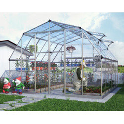 Poly-Tex, Inc. - Americana 12' x 12' Hobby Greenhouse - Silver - The Americana Hobby Greenhouse 12' x 12' is extra wide and tall for all the room you need for your organic community gardens, schools and backyard gardening activities. The interior space gives plenty of room for your tall and leafy plants. The wide and high entrance with a threshold ramp allows easy wheelchair and wheelbarrow access. The double doors are lockable and the four adjustable windows allow excellent ventilation. The aluminum framework and clear polycarbonate panels make the Americana a very strong and unbreakable greenhouse.