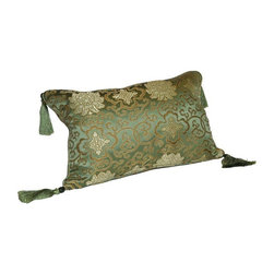 Pre-owned Green Lotus Silk Brocade 12x18 Pillow - Layering on the perfect throw pillow is the cherry on top for achieving an effortlessly styled effect in your room. This adorable 12x18 green silk pillow features a lotus design, corner tassels, piping, and a down/feather insert.