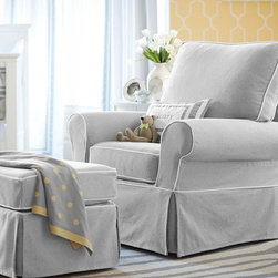Comfort Grand Swivel Glider - Nobody does a classic rocker like Pottery Barn. With a sturdy and eco-friendly construction, this structure is so unbelievably comfortable--and elegantly covered to look great for years to come. A necessity for comfortable feeding and cuddling.