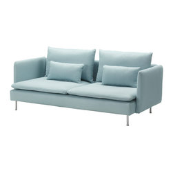 Söderhamn 3er-Sofa, Isefall Light Turquoise - When picking a piece of blue furniture, you might want to opt for a softer hue. This way, you can combine many patterns and colors without them feeling overexposed after a while. This gray-blue Ikea sofa is perfect.
