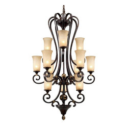 Golden Lighting - FB 363 Portland 12 Light 3 Tier Chandelier - The Portland Collection is big on size as well as impact! Thick, strong arms and elongated Birch glass give substance to an uncomplicated, yet refined design.
