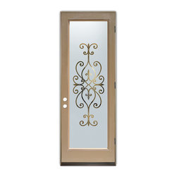 Sans Soucie Art Glass (door frame material Plastpro) - Glass Front Entry Door Sans Soucie Art Glass Cordoba - Sans Soucie Art Glass Front Door with Sandblast Etched Glass Design. Get the privacy you need without blocking light, thru beautiful works of etched glass art by Sans Soucie!This glass is semi-private. Door material will be unfinished, ready for paint or stain.Bronze Sill, Sweep and Hinges. Available in other finishes, sizes, swing directions and door materials.Dual Pane Tempered Safety Glass.Cleaning is the same as regular clear glass. Use glass cleaner and a soft cloth.