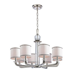 Hudson Valley - 8 Light Chandelier - Unexpected transparencies lighten the sweeping, bold style of the Rock Hill Collection. The pristine clarity of crystal softens the strong shape of the chandelier's center baluster. We set sparkling crystal bobeches in contrast to the pinstriped prim of Bright and reflective, Polished Nickel invokes a current sensibility that is tempered by its welcoming, warm tone. Flat planes possess mirror-depth in this plating, while curves show their lively contours. Polished Nickel also highlights the versatility