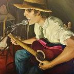 "Jeni Tomlinson Studios - Painting ""The Singer"" Acrylic on canvas 42"" x 32.5"" Original painting 2014 - Painting ""The Singer"" Acrylic on canvas 42"" x 32.5"" Original painting 2014"