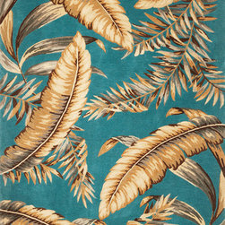 """Kas - Tropical Ferns Teal Sparta Floral 7'9"""" x 9'6"""" Kas Rug  by RugLots - Our Sparta Collection is an exclusively designed line of hand-tufted carpets with an antique finish. These rugs are made in China using high density Chinese wool. Classic and new designs in floral and other styles have been constructed using current color trends. These rugs are finished with an antique vegetable-dyed look and abrash effect. The combination of fresh color and design and antique finish gives this collection unique trend-setting characteristics."""