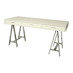 Pastel - Contemporary Desk in Matte White Finish - Rectangular wood top. Three self closing drawers. Chrome metal frame. Warranty: One year. No assembly required. 62 in. W x 28 in. D x 30 in. H (122.2 lbs.)