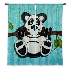 """DiaNoche Designs - Window Curtains Unlined - Gwen Meades Panda Bear - DiaNoche Designs works with artists from around the world to print their stunning works to many unique home decor items.  Purchasing window curtains just got easier and better! Create a designer look to any of your living spaces with our decorative and unique """"Unlined Window Curtains."""" Perfect for the living room, dining room or bedroom, these artistic curtains are an easy and inexpensive way to add color and style when decorating your home.  The art is printed to a polyester fabric that softly filters outside light and creates a privacy barrier.  Watch the art brighten in the sunlight!  Each package includes two easy-to-hang, 3 inch diameter pole-pocket curtain panels.  The width listed is the total measurement of the two panels.  Curtain rod sold separately. Easy care, machine wash cold, tumble dry low, iron low if needed.  Printed in the USA."""