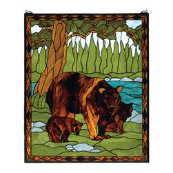 Meyda Tiffany - Meyda Tiffany 72935 Spring Woods Window - Next to a sparkling Turquoise river winding through rolling Green meadows with a stand of Pine Green trees, a mother Brown bear with her cubs play. This picturesque scene is handcrafted of a beautiful selection of stained art glass. The Meyda Tiffany Original window is framed in a rustic Bark and Leather Brown diamond border. Brass mounting bracket and chains are included