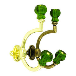 Glass & Brass Coat Hook, Emerald Green Glass