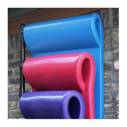 Frontgate - Three Float Hanging Pool Rack - Made of thick, commercial-grade PVC. Holds up to 6 pool floats with loop headrests. Attaches easily to brick, wood, stucco, or plasterboard. Mounts flush against the wall. Bronze finish. After pool fun is done, our Hanging Pool Float Rack stores your floats neatly out of sight. When deck space is at a premium, this wall-mount float rack takes charge of pool float storage quickly and conveniently.. . . . . Mounting hardware not included.