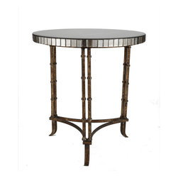 Venetian Bamboo Leg Table - The combination of bamboo and mirror is one of our favorites. The simple bamboo is a perfect contrast to the mirror, which tends to add glamour, and makes it more casual.